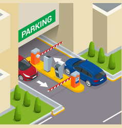 isometric parking payment station access control vector image