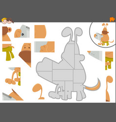 Jigsaw puzzle game with dog and tablet vector