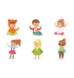 little toddlers in colorful wears in motion vector image