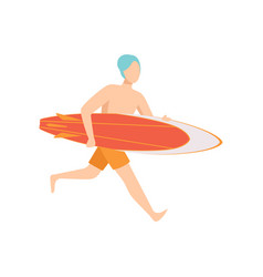 Male lifeguard running with surfboard vector