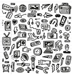 mass media - doodles set vector image