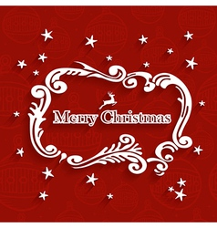 Merry Christmas retro label greeting card vector