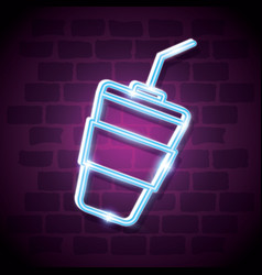 milkshake drink neon label vector image