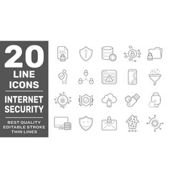 modern thin line icons set internet services vector image