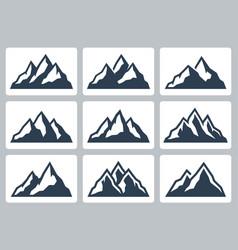 mountain silhouettes range icon set vector image