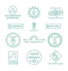 Natural cosmetics line icons and badges set vector image