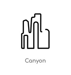 Outline canyon icon isolated black simple line vector