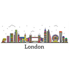 Outline london england city skyline with color vector