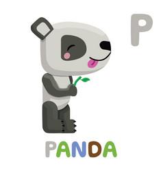 p is for panda letter p panda cute animal vector image