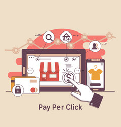 Pay per click online bankinginternet marketing vector