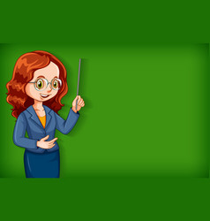 Plain background with female teacher with stick vector