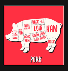 Pork meat cutting charts vector