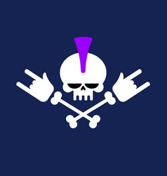 Punk skull with mohawk and rock hand head vector