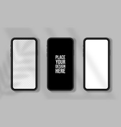 realistic smartphone mockup set mobile phone vector image