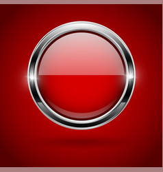 Red round button with metal frame on red vector