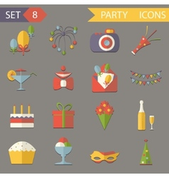 Retro Flat Birthday Party Celebrate Icons and vector image