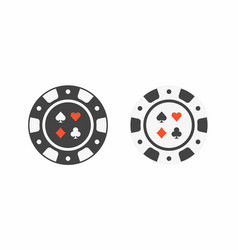 Set casino chips top view vector