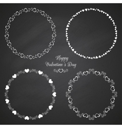 Set of circle cute frames for the St Valentines vector image