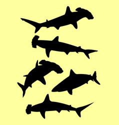 Sharks animal gesture silhouette vector