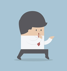 Sneaking businessman finger on lips vector