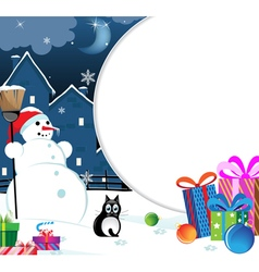 Snowman with christmas presents vector