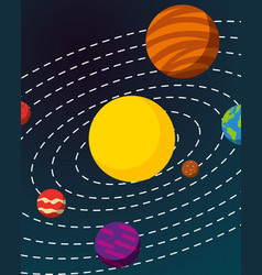 Space solar system concept vector