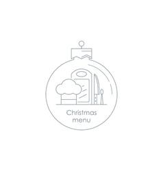 Special xmas menu linear design icon and logo vector image