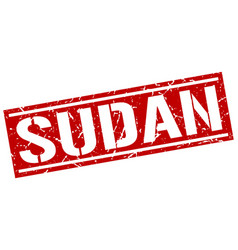 Sudan red square stamp vector