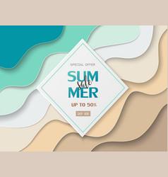 summer sale banner on paper cut background vector image