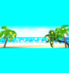 Summer time seashore palm landscape vector