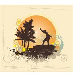 Summer with surfer vector