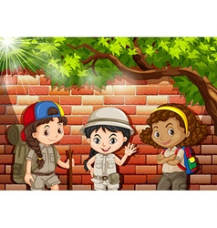 Three girls in camping suit vector image