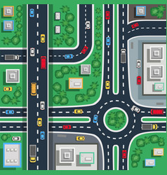 traffic city top flat poster vector image