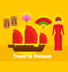 travel to vietnam background flat style vector image