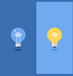 turned off and glowing light bulb flat design vector image