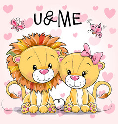 two cute lions on a hearts background vector image