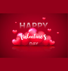 valentines day banner template red heart with vector image