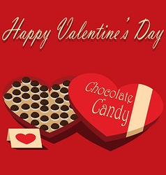 Valentines Day box of chocolate candy and greeting vector