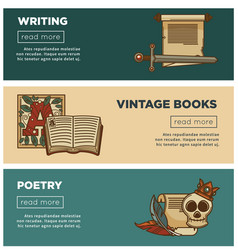 vintage poetry books banners for bookshop or vector image