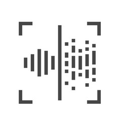 Voice recognition identification line icon 48x48 vector
