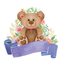 watercolor toy bear with flower decor and banner vector image