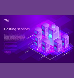 web hosting and data center isometric vector image