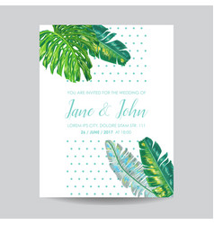 Wedding invitation template with palm leaves vector