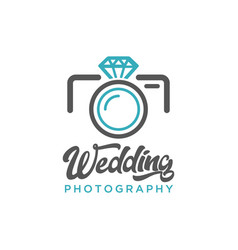 Wedding photography camera diamond logo icon vector