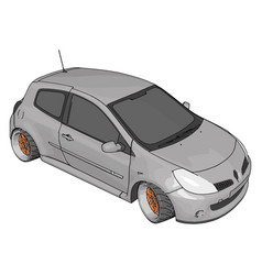 white renault clio on white background vector image