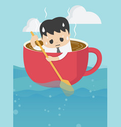 young businessman rowing coffee cup in sea vast vector image