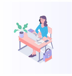 young woman working on laptop in the office vector image