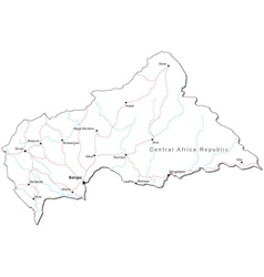 Central African Republic Black White Map vector image