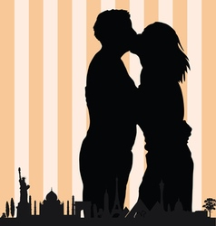 couple with monument building in colorful vector image vector image