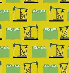 Oil rig and a bundle of money seamless pattern vector image